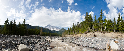 nisqually river at cougar rock campground panorama
