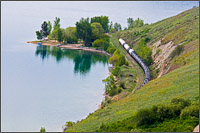 train along kalamalka lake at kekuli bay provincial park