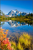 mt shuksan reflected in picture lake