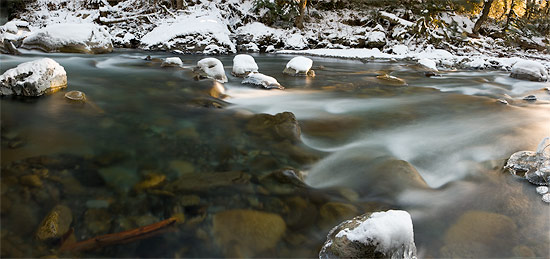 winter panorama of the chilliwack river near chilliwack lake provincial park