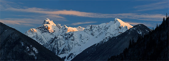 panorama of mount redoubt and nodoubt peak from chilliwack lake provincial park