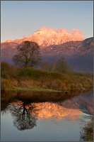 mount blandshard - the golden ears - reflected in a pond at the pitt-addington marsh in pitt meadows