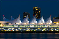 lights on the sails of canada place in vancouver, british columbia k