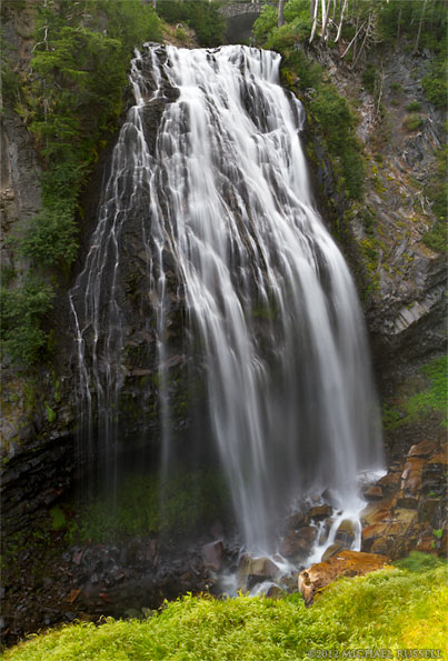 view of narada falls in mount rainier national park