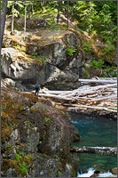 a hiker looks at silver falls on the ohanapecosh river at mount rainier national park in washington state usa