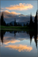 upper tipsoo lake sunset at mount rainier national park