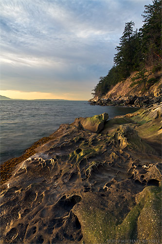 sunset at larrabee state park in washington state usa