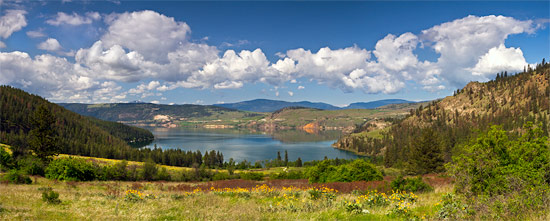 panorama view of cosens bay from kalamalka lake provincial park in vernon british columbia canada