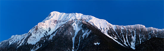 panorama of mount cheam during blue your from agassiz british columbia canada