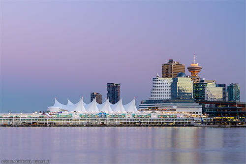 earths shadow belt of venus behind canada place in vancouver british columbia