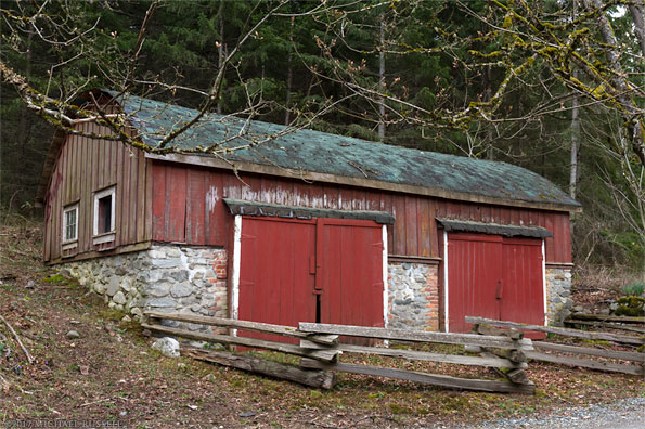 barrel-roof storage shed built by richard maxwell at burgoyne bay provincial park on salt spring island