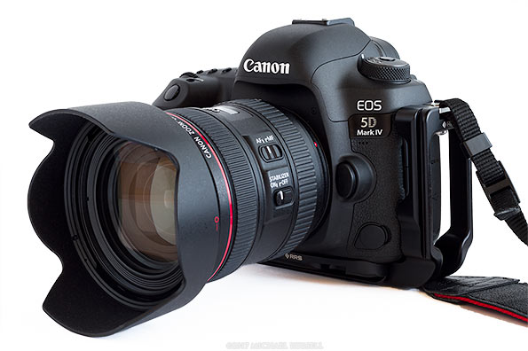Canon 5D Mark IV with Canon ef 24-70mm f/4 IS lens and RRS L bracket