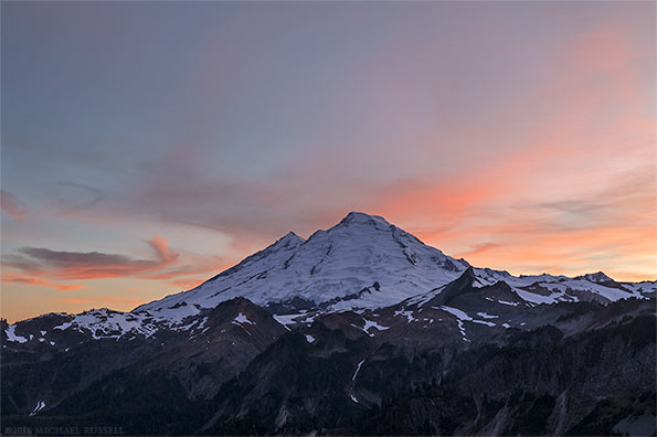 mount baker sunset from huntoon point washington