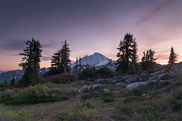 mount baker after sunset from huntoon point washington