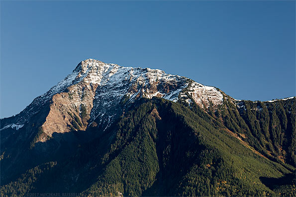 mount cheam peak with fresh fall snowfall