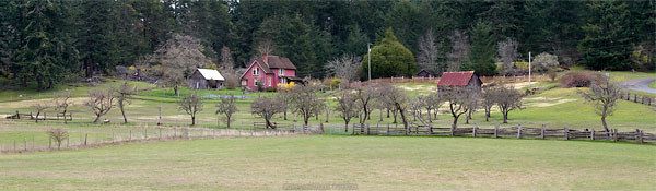 panorama of the ruckle active farm and buildings in ruckle provincial park on salt spring island