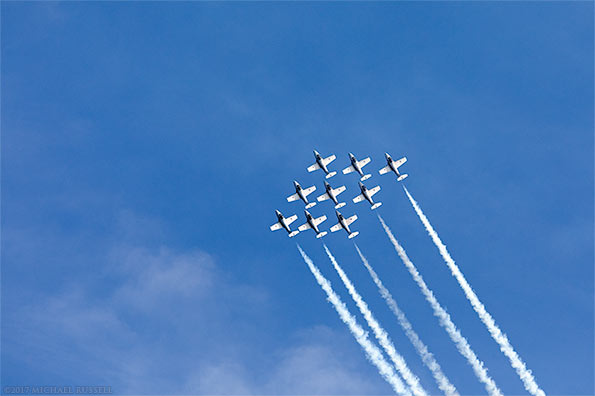 canadian forces snowbirds big diamond formation with smoke
