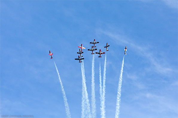 canadian forces snowbirds begin canada burst from diamond formation