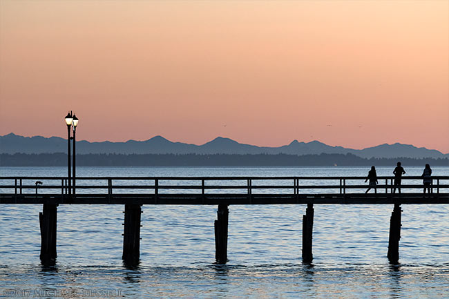sunset at the white rock pier
