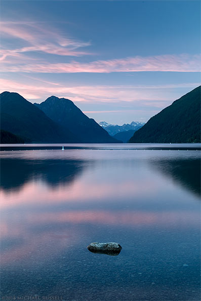 sunset at alouette lake in golden ears park