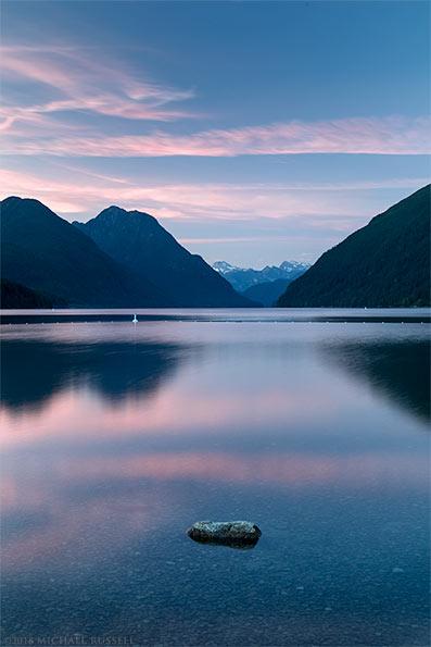 sunset at alouette lake in golden ears park