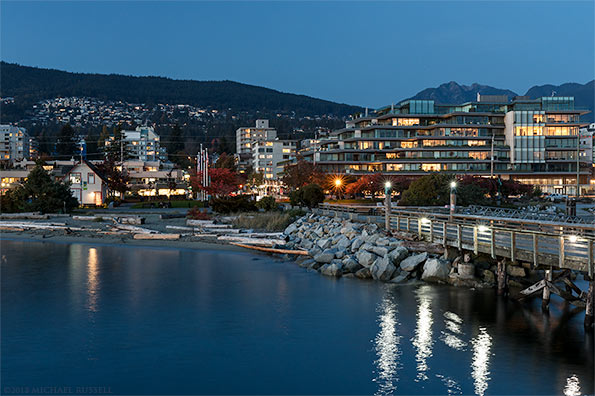 ambleside pier west vancouver evening