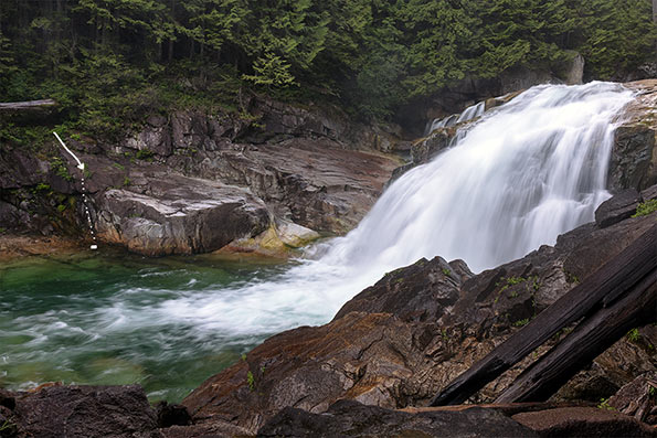lower falls on golden creek in golden ears park