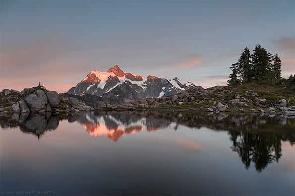 tarn reflection mount shuksan evening sunset huntoon point