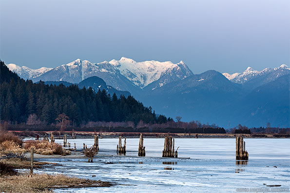 pitt river and osprey mountain in winter
