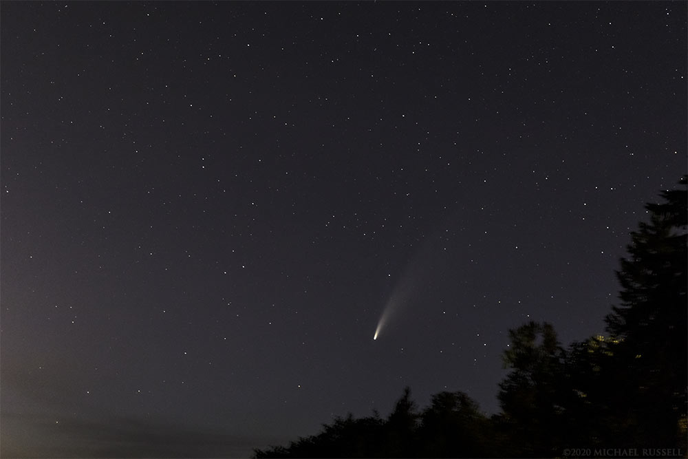 comet neowise in the night sky above abbotsford