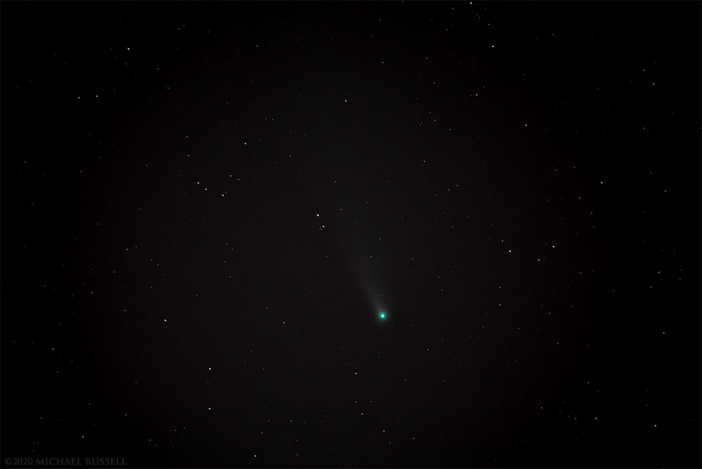 comet neowise in the night sky above langley