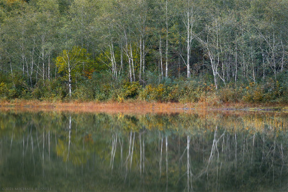 fall foliage reflections at deer lake in sasquatch provincial park