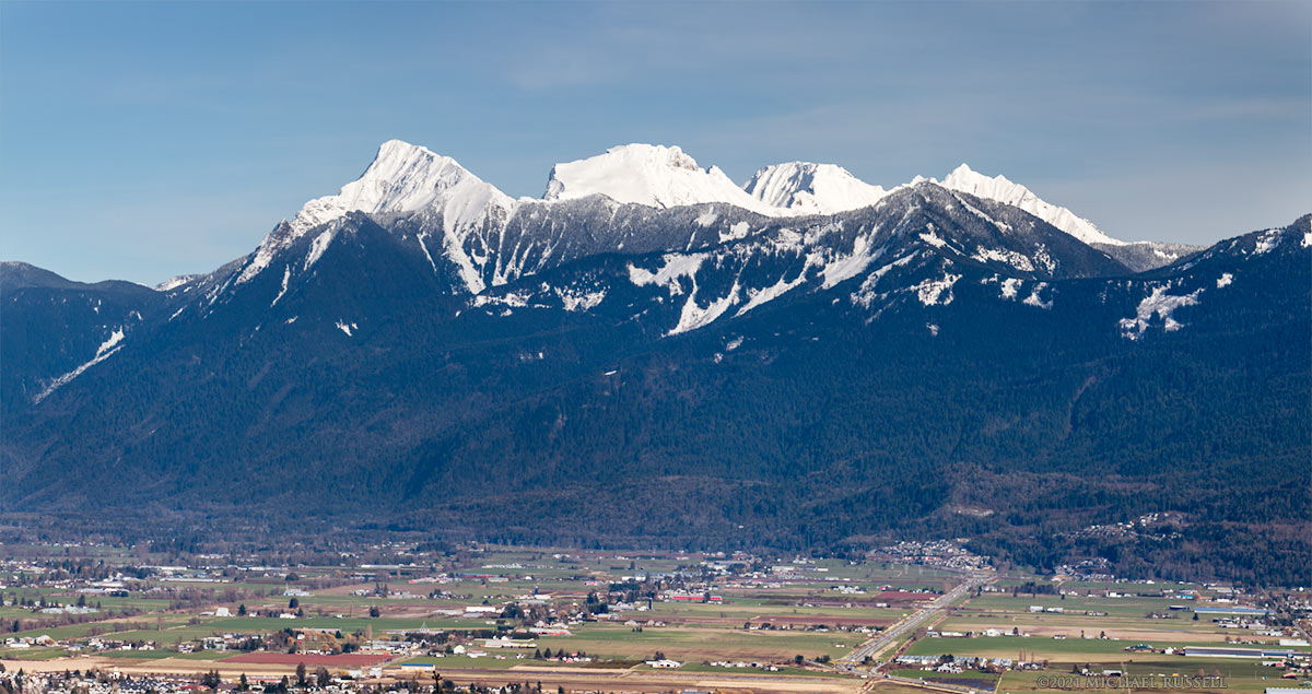 mount cheam range peaks and chilliwack farmland