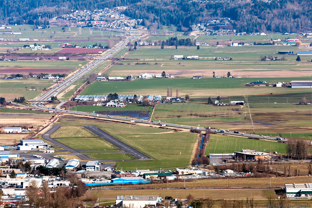 chilliwack airport and the trans canada highway from hillkeep regional park