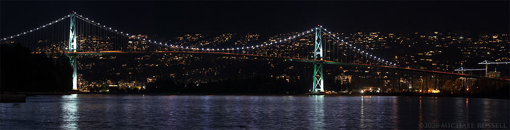 lions gate bridge at night from stanley park