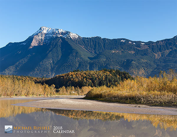 cover for 2018 nature calendar - mount cheam fraser river fall