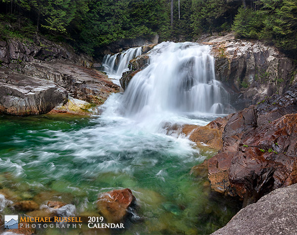 cover for 2019 nature calendar - lower falls golden ears park