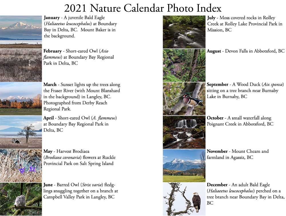 index for 2021 british columbia nature calendar