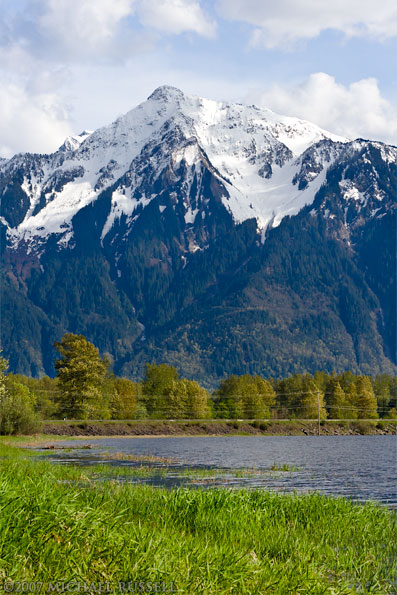 view of mount cheam from seabird island in the spring