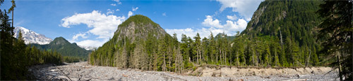 nisqually river panorama at cougar rock campground