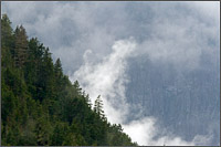 clouds swirl near ridge on silverdaisy mountain in manning provincial park