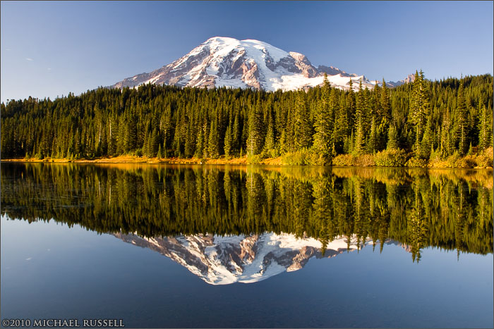 mt rainier mirrored in reflection lakes