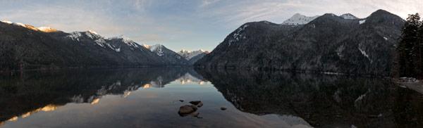 panorama of chilliwack lake in winter