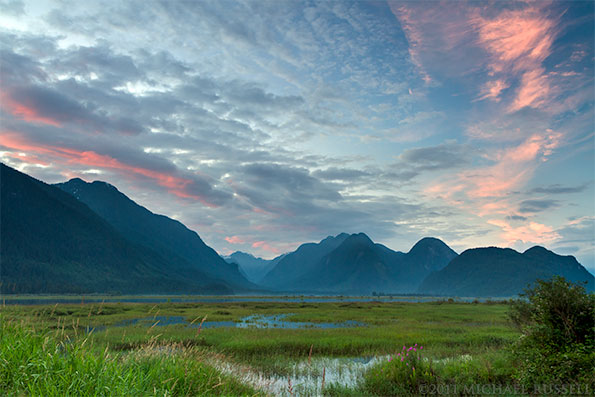 sunset at the pitt river marsh