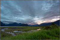 sundown at pit-addington marsh wildlife management area near pitt lake