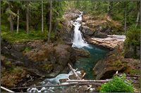 silver falls on the ohanapecosh river at mount rainier national park in washington state usa