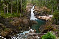 silver falls on the ohanapecosh river at mount rainier national park in washington state usa