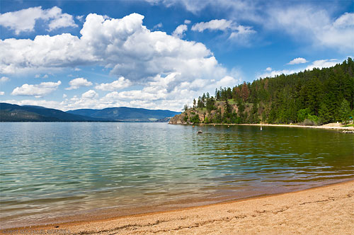 otter bay beach on okanagan lake at ellison provincial park in vernon, british columbia