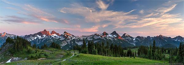 tatoosh range and wildflower sunset panorama in mount rainier national park
