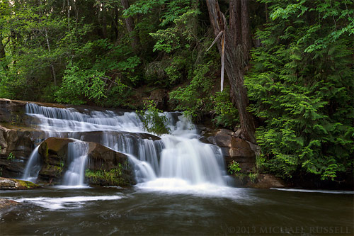 waterfall on millstone river at bowen park in nanaimo, british columbia